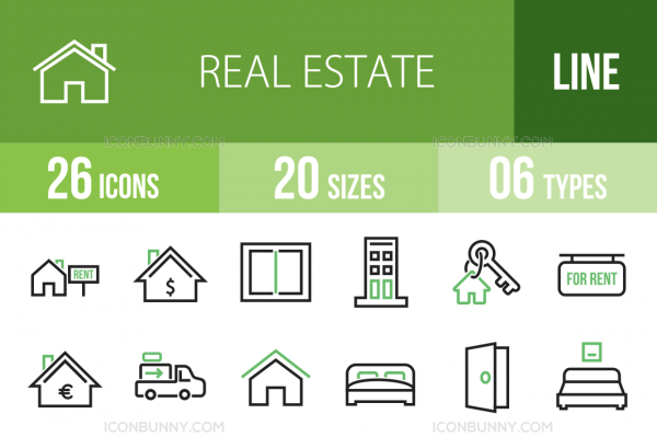 26 Real Estate Line Green & Black Icons - Overview - IconBunny
