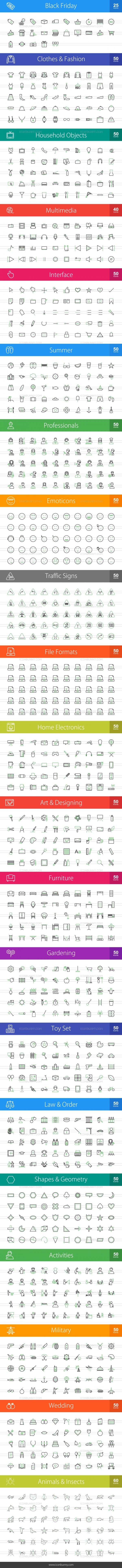 1025 Line Green & Black Icons Bundle - Preview - IconBunny