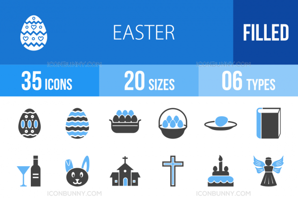 35 Easter Blue & Black Icons - Overview - IconBunny
