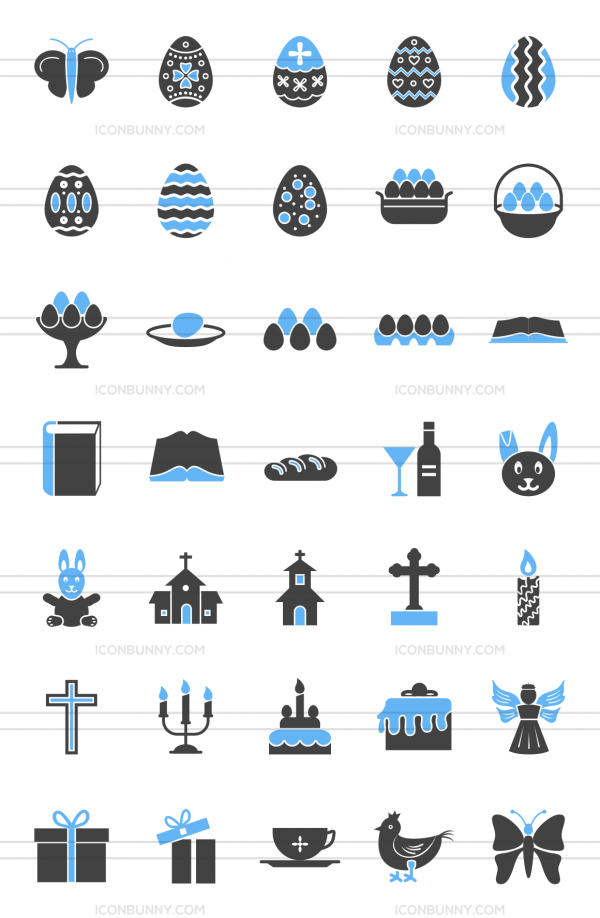 35 Easter Blue & Black Icons - Preview - IconBunny