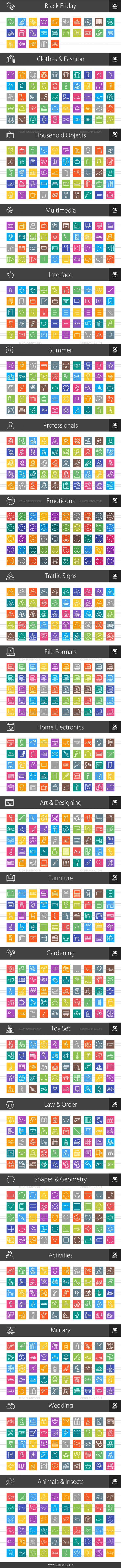 1025 Line Multicolor B/G Icons Bundle - Preview - IconBunny