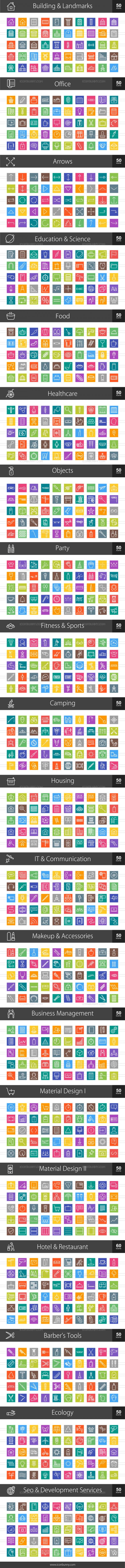 1010 Line Multicolor B/G Icons Bundle - Preview - IconBunny