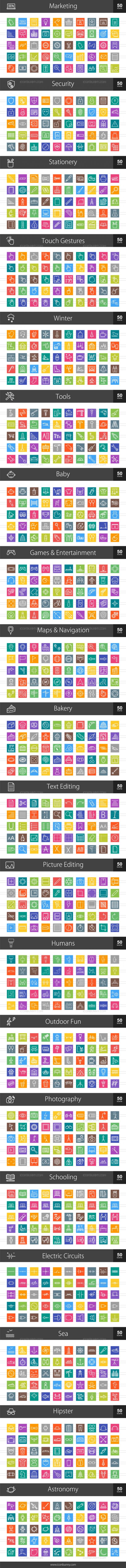 1000 Line Multicolor B/G Icons Bundle - Preview - IconBunny