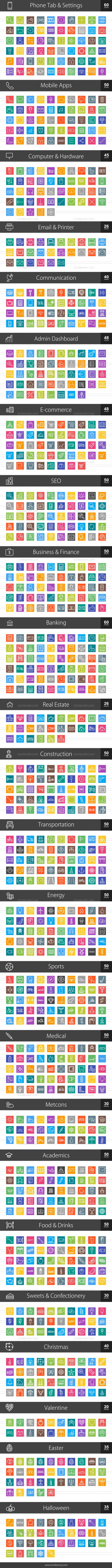 1044 Line Multicolor B/G Icons Bundle - Preview - IconBunny