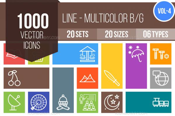1000 Line Multicolor B/G Icons Bundle - Overview - IconBunny