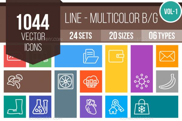 1044 Line Multicolor B/G Icons Bundle - Overview - IconBunny