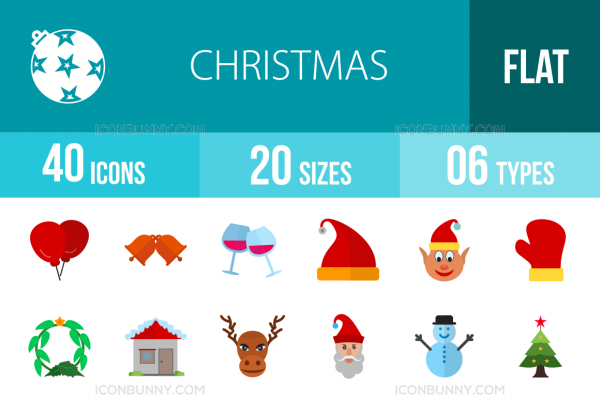 40 Christmas Flat Multicolor Icons - Overview - IconBunny