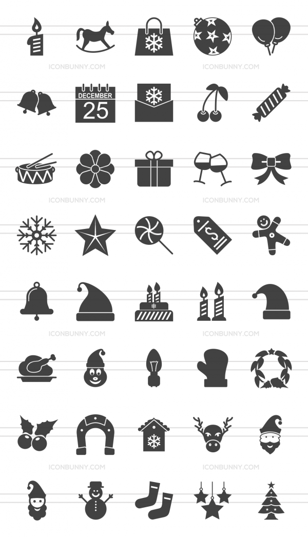 40 Christmas Glyph Icons - Preview - IconBunny