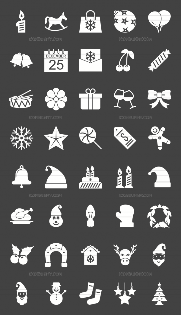 40 Christmas Glyph Inverted Icons - Preview - IconBunny