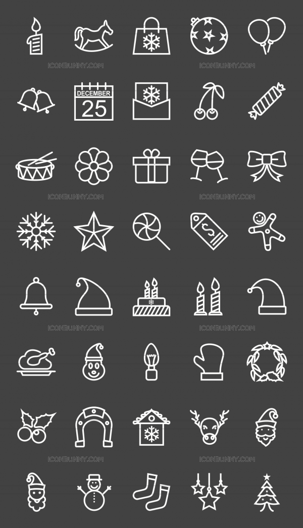 40 Christmas Line Inverted Icons - Preview - IconBunny