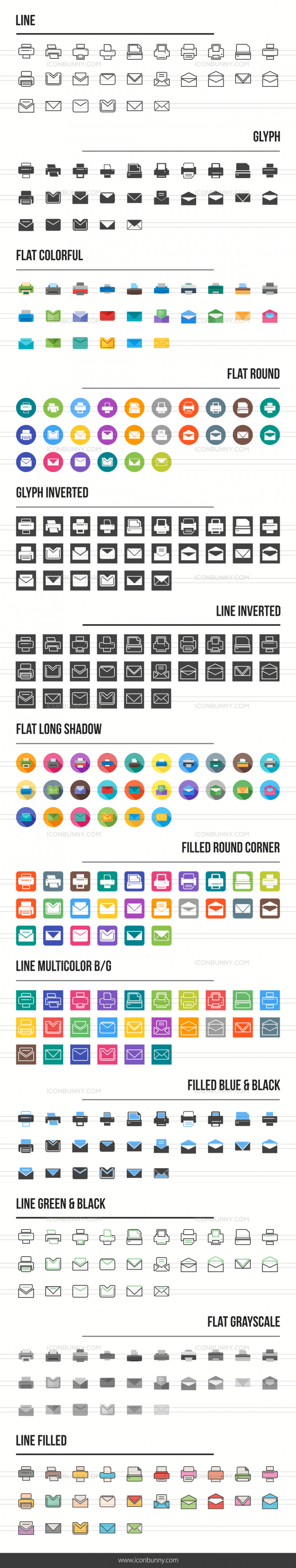 Email & Printers Icons Bundle - Preview - IconBunny