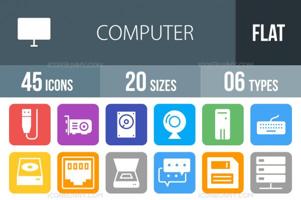 45 Computer & Hardware Flat Round Corner Icons - Overview - IconBunny
