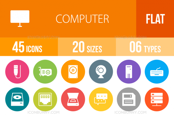 45 Computer & Hardware Flat Round Icons - Overview - IconBunny