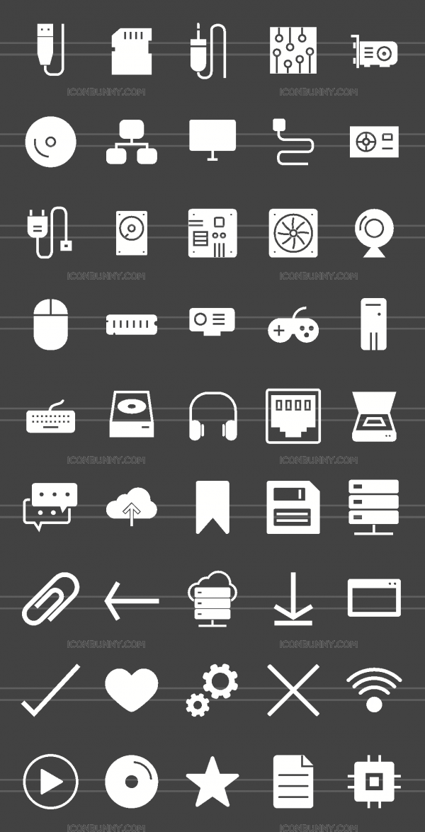 45 Computer & Hardware Glyph Inverted Icons - Preview - IconBunny