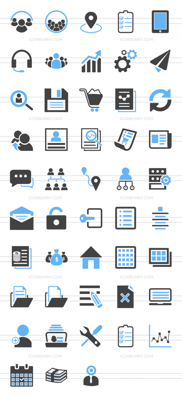 48 Admin Dashboard Blue & Black Icons - Preview - IconBunny
