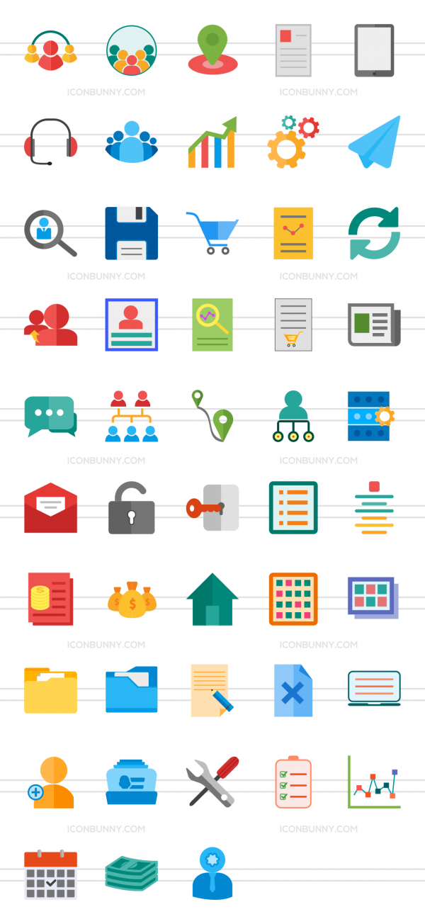 48 Admin Dashboard Flat Multicolor Icons - Preview - IconBunny
