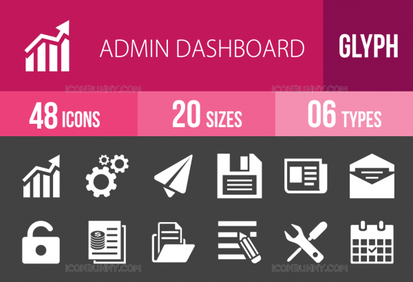 48 Admin Dashboard Glyph Inverted Icons - Overview - IconBunny