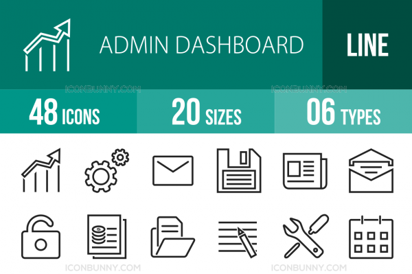 48 Admin Dashboard Line Icons - Overview - IconBunny