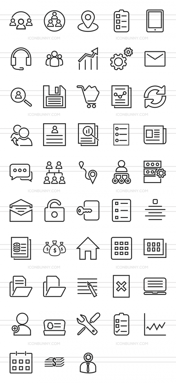 48 Admin Dashboard Line Icons - Preview - IconBunny