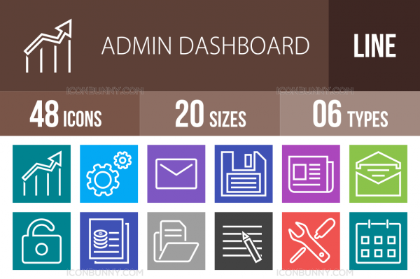 48 Admin Dashboard Line Multicolor B/G Icons - Overview - IconBunny