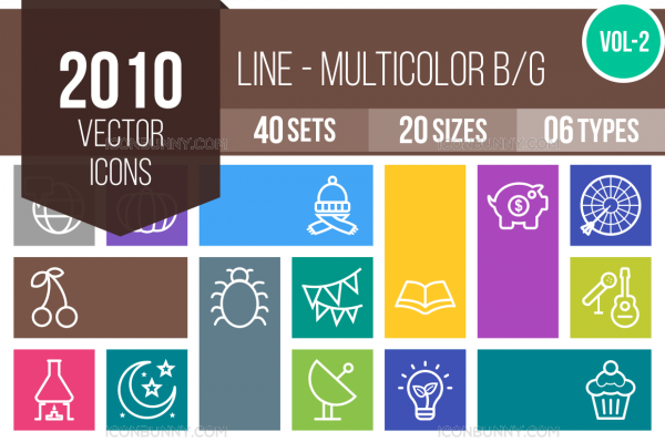 2010 Line Multicolor B/G Icons Bundle - Overview - IconBunny