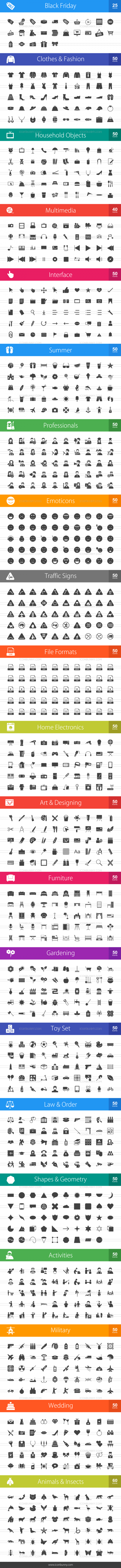 1025 Glyph Icons Bundle - Preview - IconBunny