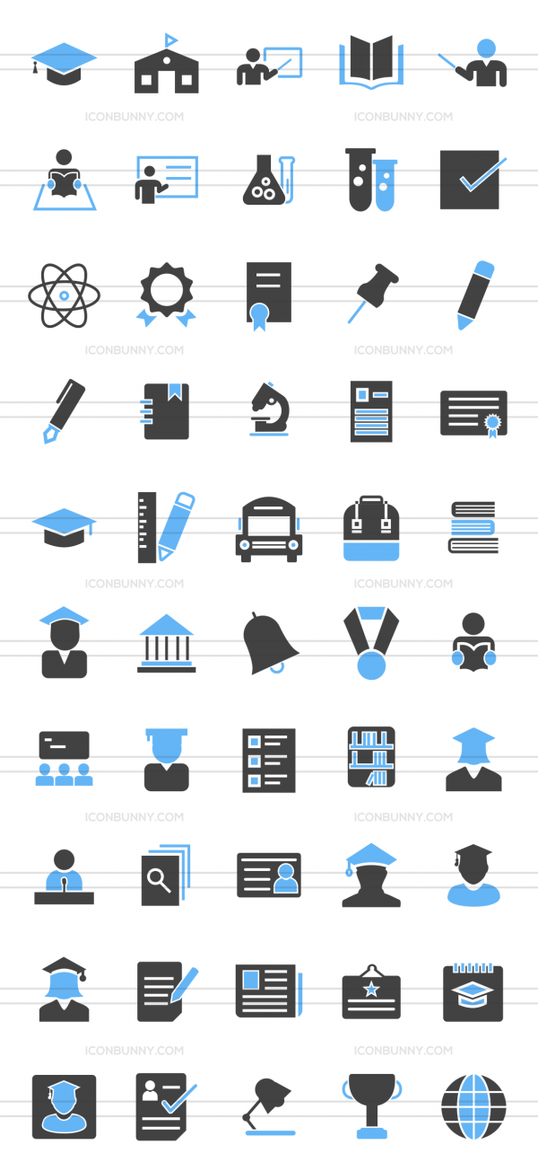 50 Academics Blue & Black Icons - Preview - IconBunny