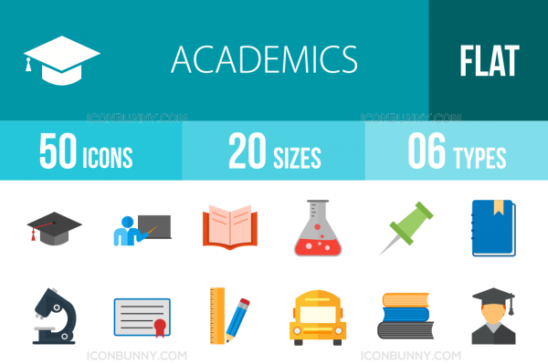 50 Academics Flat Multicolor Icons - Overview - IconBunny