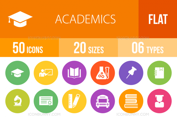 50 Academics Flat Round Icons - Overview - IconBunny