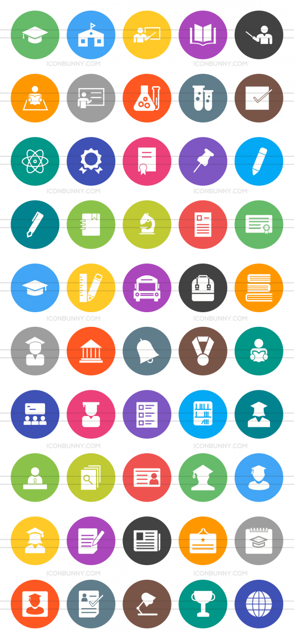 50 Academics Flat Round Icons - Preview - IconBunny