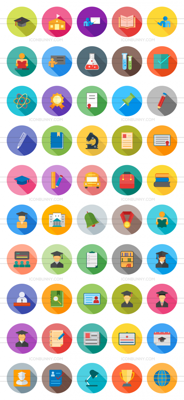 50 Academics Flat Shadowed Icons - Preview - IconBunny