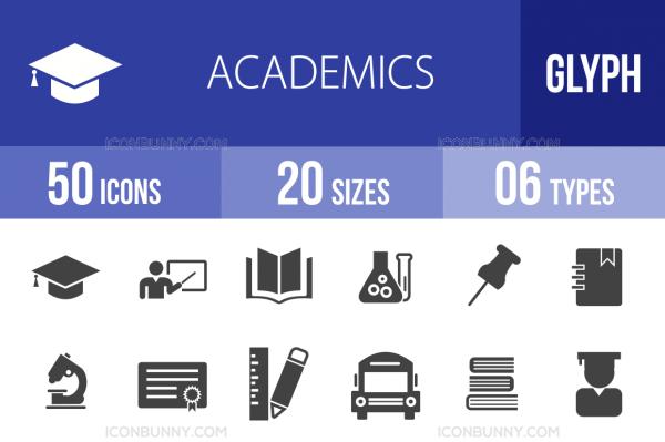 50 Academics Glyph Icons - Overview - IconBunny