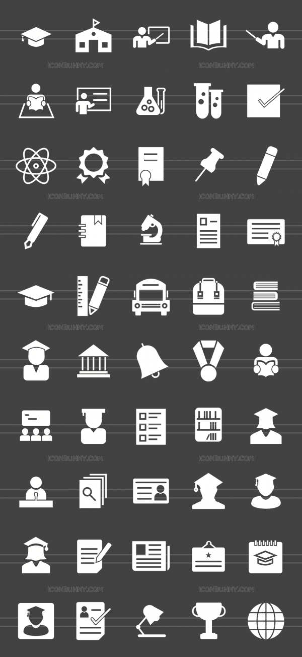 50 Academics Glyph Inverted Icons - Preview - IconBunny