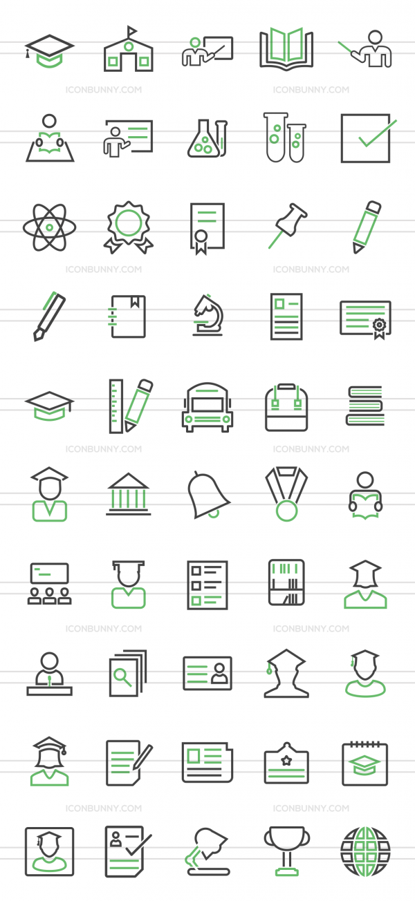 50 Academics Line Green & Black Icons - Preview - IconBunny