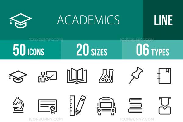 50 Academics Line Icons - Overview - IconBunny