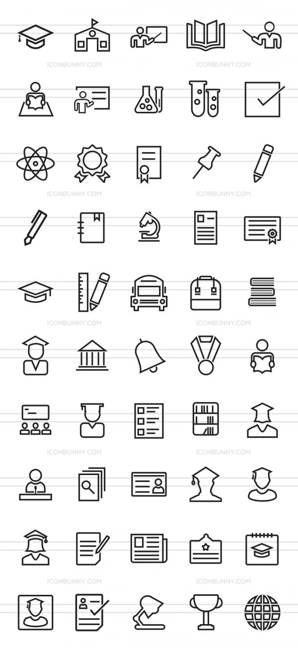 50 Academics Line Icons - Preview - IconBunny