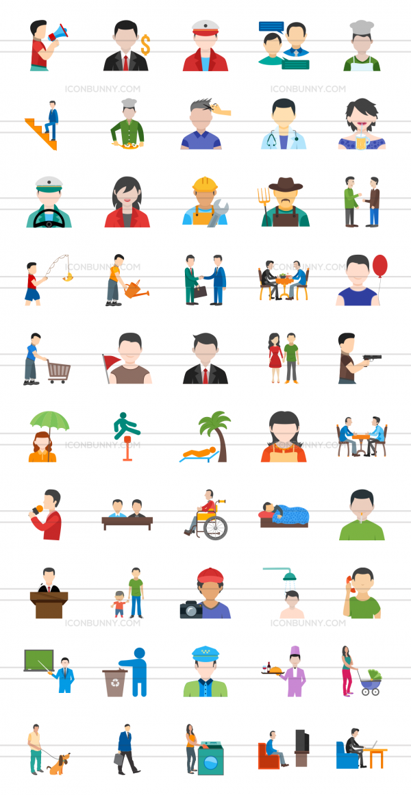 50 Activities Flat Multicolor Icons - Preview - IconBunny
