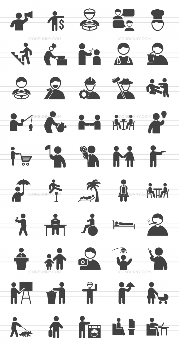 50 Activities Glyph Icons - Preview - IconBunny
