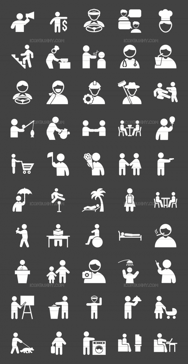 50 Activities Glyph Inverted Icons - Preview - IconBunny