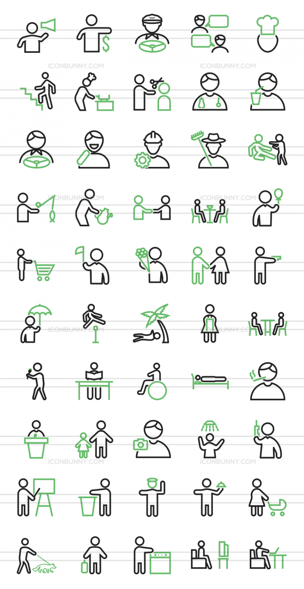 50 Activities Line Green & Black Icons - Preview - IconBunny