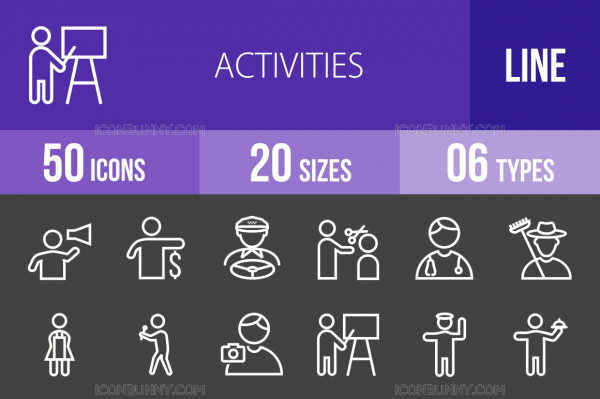 50 Activities Line Inverted Icons - Overview - IconBunny