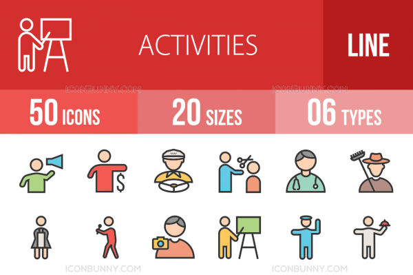 50 Activities Line Multicolor Filled Icons - Overview - IconBunny