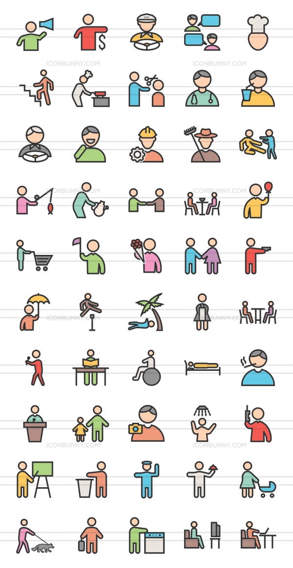 50 Activities Line Multicolor Filled Icons - Preview - IconBunny