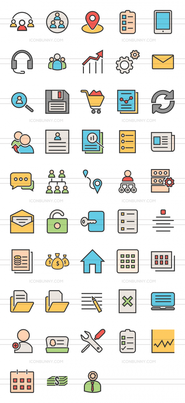 48 Admin Dashboard Line Multicolor Filled Icons - Preview - IconBunny