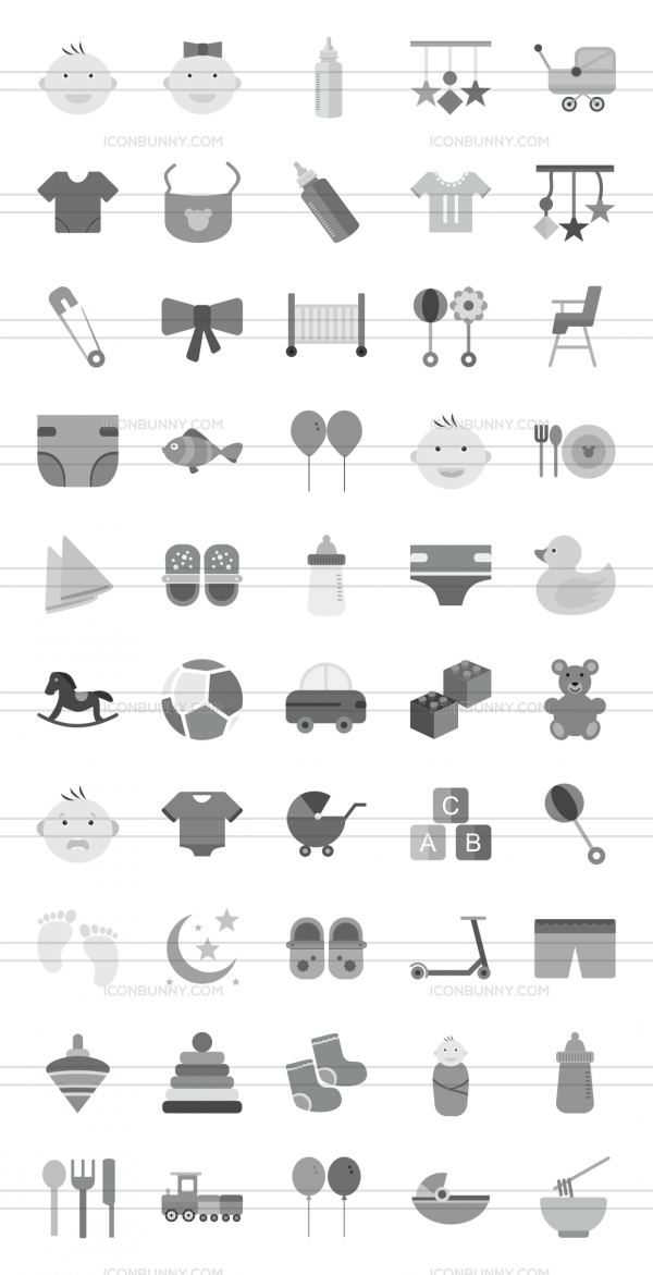 50 Baby Greyscale Icons - Preview - IconBunny