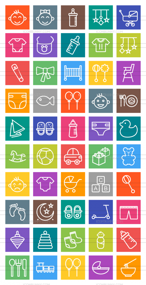50 Baby Line Multicolor B/G Icons - Preview - IconBunny