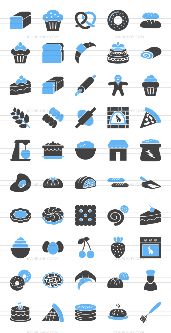 50 Bakery Blue Black Icons - Preview - IconBunny