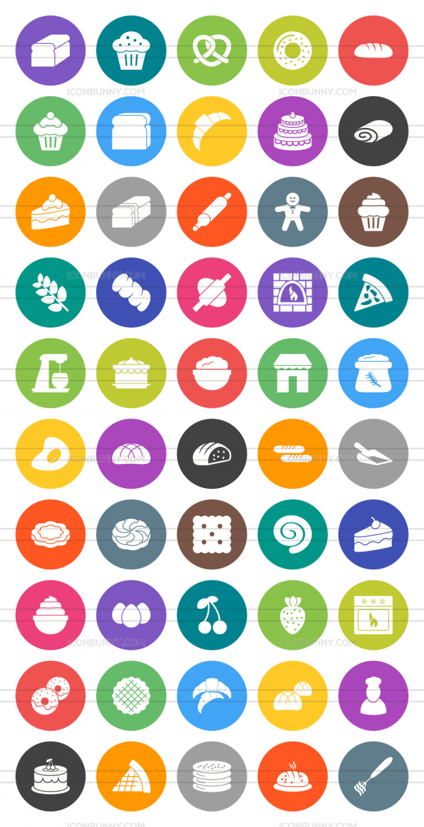 50 Bakery Flat Round Icons - Preview - IconBunny