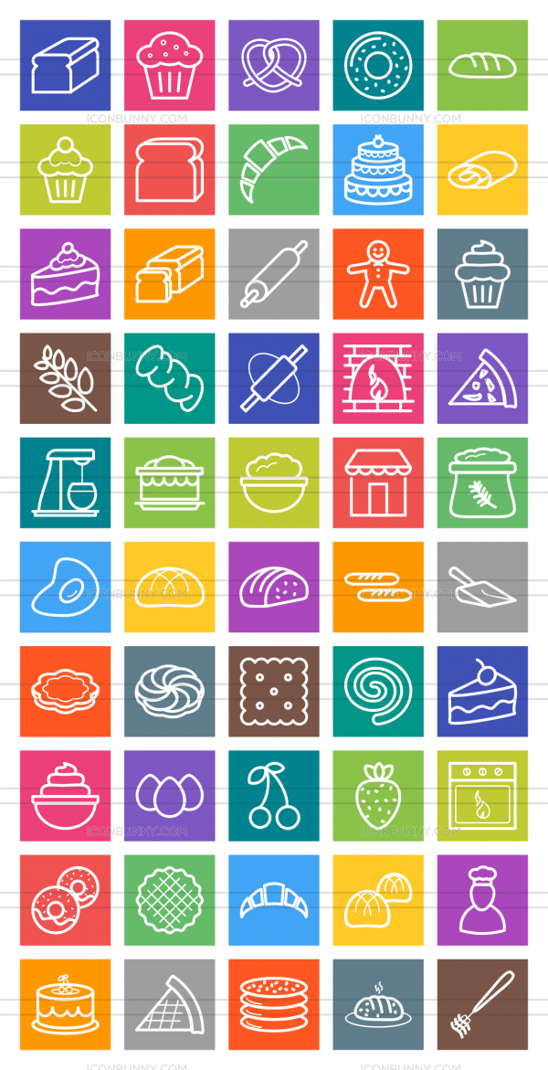 50 Bakery Line Multicolor B/G Icons - Preview - IconBunny