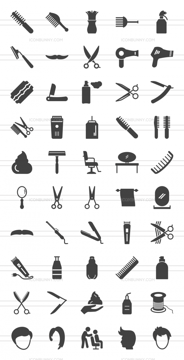50 Barber's Tools Glyph Icons - Preview - IconBunny